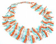 Vintage Unusual Coral Shaped Bead,  Double Stranded Necklace